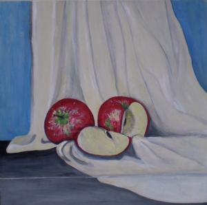 RED APPLES Acrylic on board