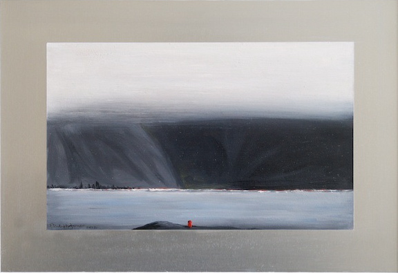 FOG ISLAND Oil on aluminium 13cm x 22cm SOLD