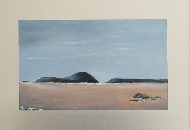 ISLAND PASSAGE Oils on aluminium. 13cm x 22cm PRIVATE COLLECTION