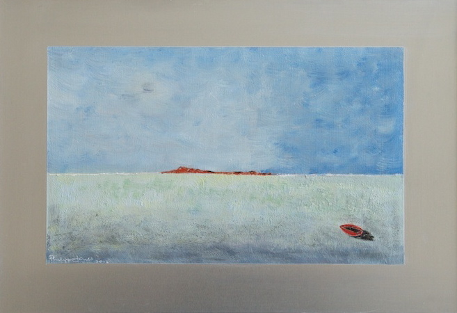 RED ISLAND Oils on aluminium 13cm x 22cm SOLD
