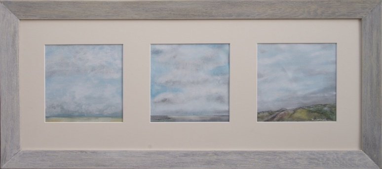 THREE SKIES 15CM X 15CM each Acrylic on linen