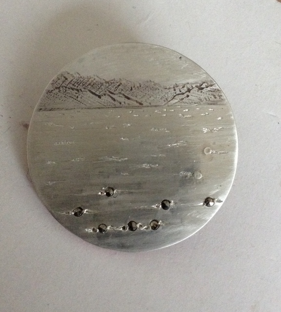 SILVER AND MARCASITES, RECYCLED 45mm diameter